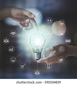 Light bulb in hand ,Wireless connection concept