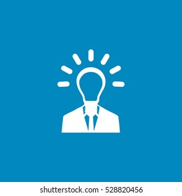 light bulb head icon, on white background