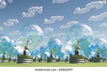 Light Bulb heads and dollar symbol clouds 3d Render