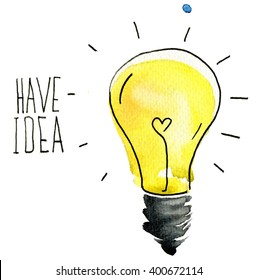 light bulb idea abstract sketch. Creative Idea with light bulb. Watercolor background. Lettering. Quote. Concept of creative thinking and unique ideas. Set icons.