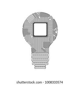 Light bulb idea icon with circuit board inside