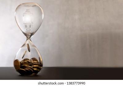 Light bulb idea inside an hourglass turning into money