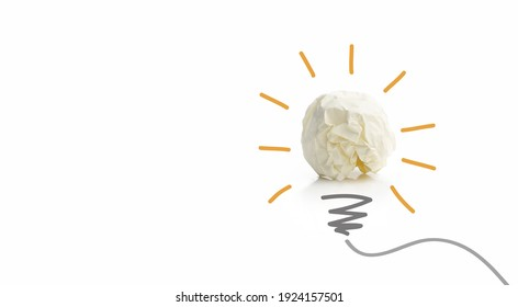 Light bulb idea from white paper ball on white background, creative idea and innovation idea concept