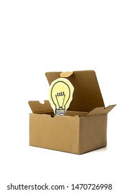 Light bulb inside a box over white background, think outside of the box, idea
