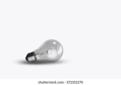Light bulb isolated on white 3D off detail inside