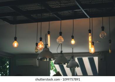 Light bulb lamp Orange light In the coffee shop