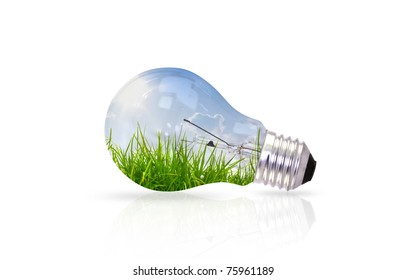 light bulb with landscape inside isolated on white