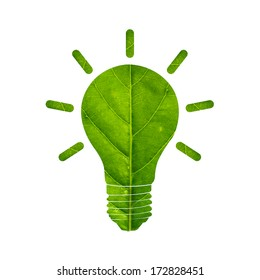 Light bulb made of green leaf eco energy concept. Isolated on white background.