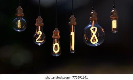 light bulb. new year 2018. edison light bulb