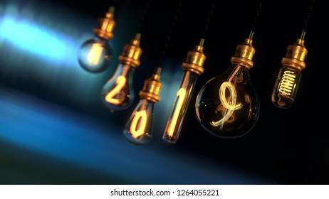 light bulb. new year 2019. edison light bulb