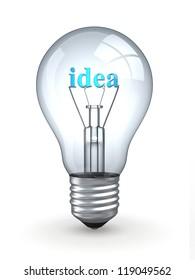 Light bulb oln white background. Three-dimensional image. 3d