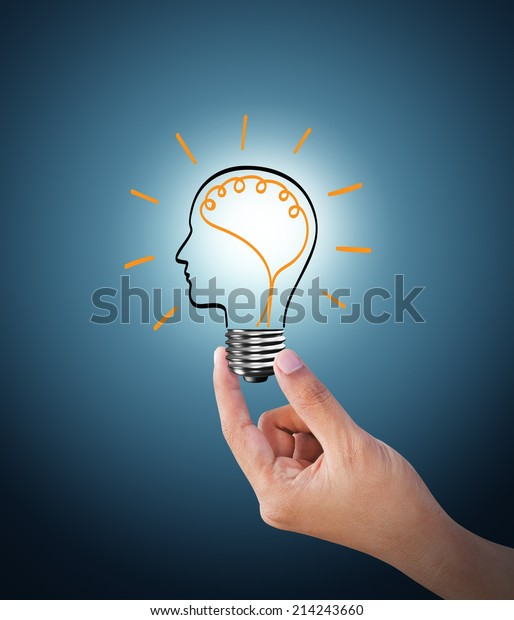 Light bulb on blue background, the concept of the emergence of the idea