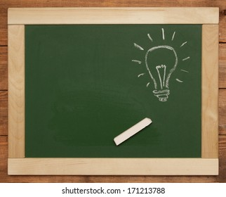 light bulb on chalk board
