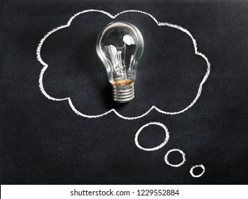 Light bulb on chalkboard. Thinking of new great idea. Brainstorming and creating. Creativity, innovation, inspiration and intelligence concept. Blackboard with drawn thought bubble. Business solution.