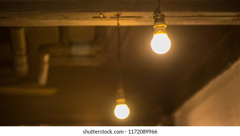 Light bulb on dark background, decorative in home. Concept of creativity.