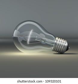 Light bulb on grey background. 3d