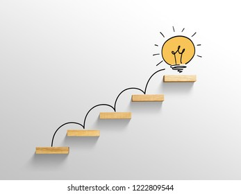 light bulb on stairs, increase size, business successful concept
