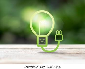 light bulb over nature blur background, business concept, environmental concept