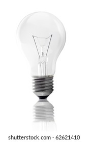 light bulb and reflection isolated on white background