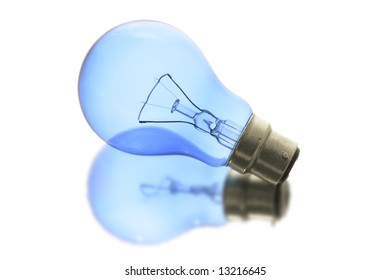 Light bulb with Reflection on White Background