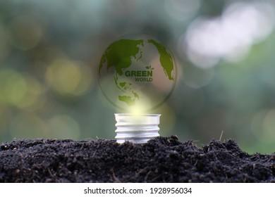 Light bulb save world and business eco concept