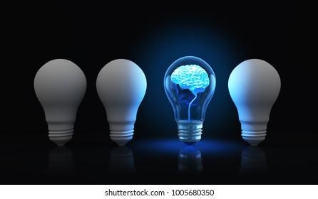 Light bulb with shining brain inside.3D illustration