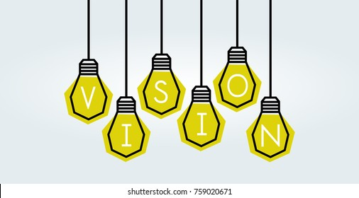 light bulb as symbol of Vision word