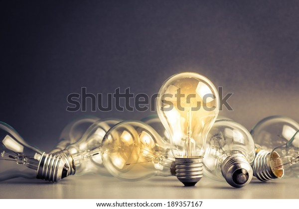 A light bulb that stable and glowing among the others
