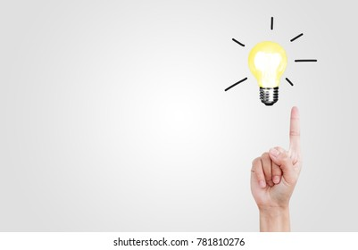 Light bulb Thinking Concept ideas to Success with Forefinger on white background isolate. Good ideas symbol. Creative thinking. Leave space for design.