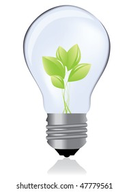 Light bulb whit green plant / eco concept