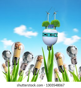 Light bulb with wind turbines,solar panel and coins on a plant. Concept of saving money. Alternative energy theme.