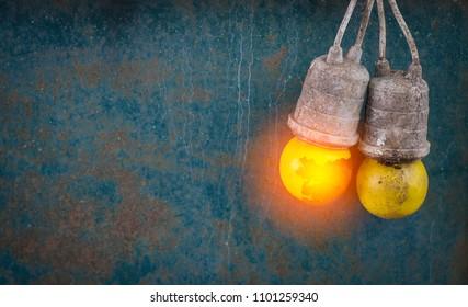 Light bulb yellow Have a fire zinc background