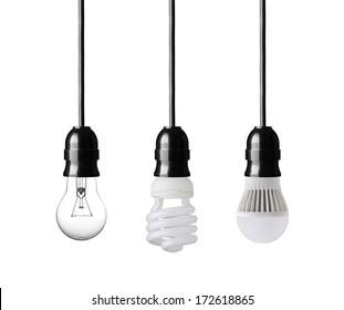 Light bulb,energy saver bulb and LED bulb isolated on white