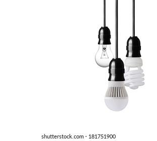 Light bulb,energy saver bulb and LED bulb on white