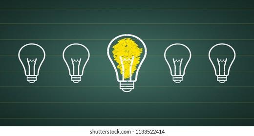 light bulbs at a chalkboard