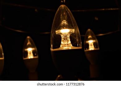 Light bulbs close up in the dark