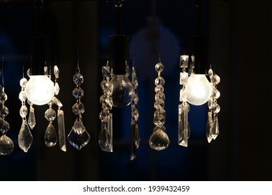 Light bulbs decorated with crystal glass glow in the dark