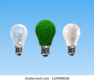 Light bulbs for ECO and green energy concept, isolated on blue background, 3D illustration.