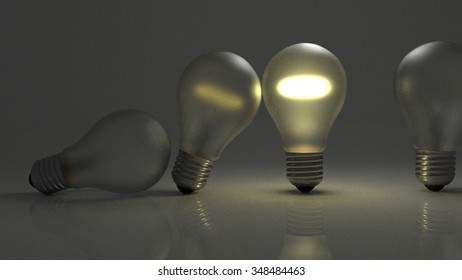 Light bulbs falling on each other like dominoes passing ideas along through time.
