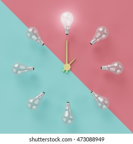 light bulbs glowing one  different idea clock concept on cross pastel pink and light blue background , minimal concept , top view , flat lay