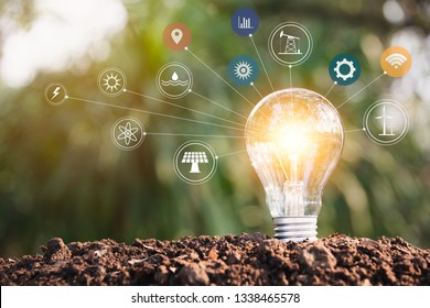 Light bulbs with glowing one. technology and creativity concept with light bulbs. - Shutterstock ID 1338465578