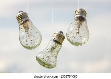light bulbs hang in the rain, abstraction