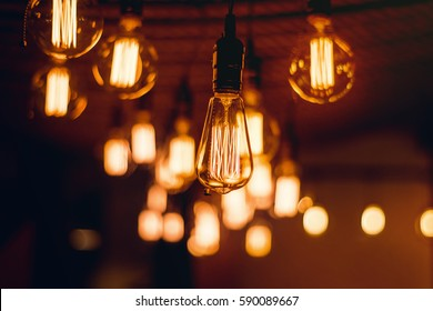 Light bulbs hanging from the ceiling