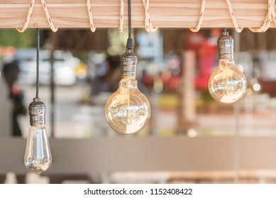 light bulbs hung from the wood