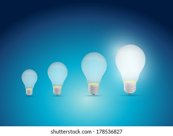 light bulbs idea graph illustration design over a blue background