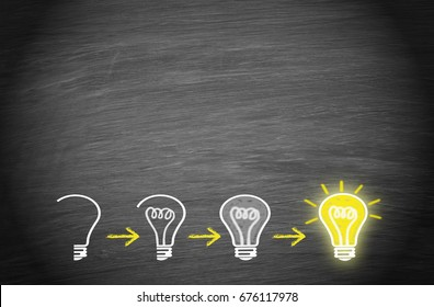 Light bulbs on chalkboard background with copy space for individual text - big idea, innovation, creativity and education concept