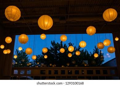 Light bulbs over blue sky