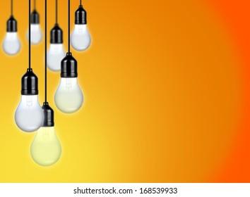 Light Bulbs over Orange Background