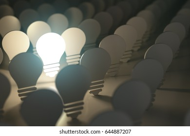 Light bulbs symbols with glowing one. Idea or difference concept background. 3d illustration.