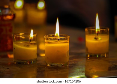 Light and Candles at thai temple